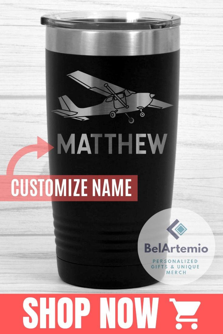 I love this unique aviation tumbler with personalized airplane design! This awesome mug would make a great appreciation gift idea for a private pilot on Easter or Father's day, birthday or celebrating reach of flight hours. This custom pilot tumbler will be a great gift idea for pilot husband, friend or boyfriend. Get this cup for the airplane pilot of a commercial airliner that would make a special gift! Get it on my Etsy store #aviation #pilot #airliner #pilotlife #airlinepilot