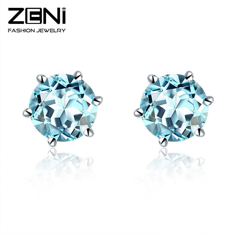 925 sterling silver 1.0 ct natural fine blue topaz stone round stud earring 6mm