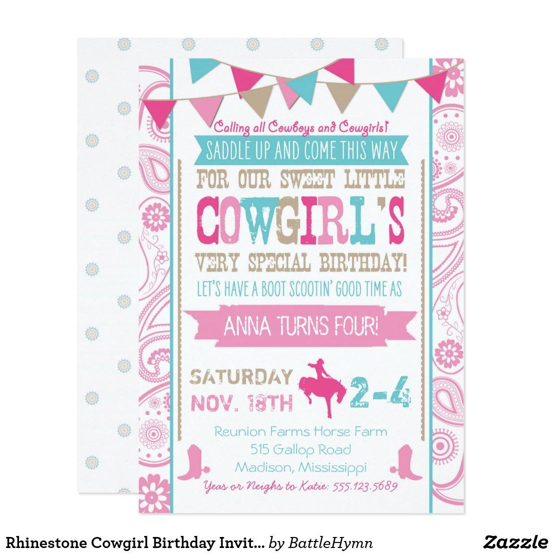 Rhinestone Cowgirl Birthday Invitation | { Happy Birthday ...