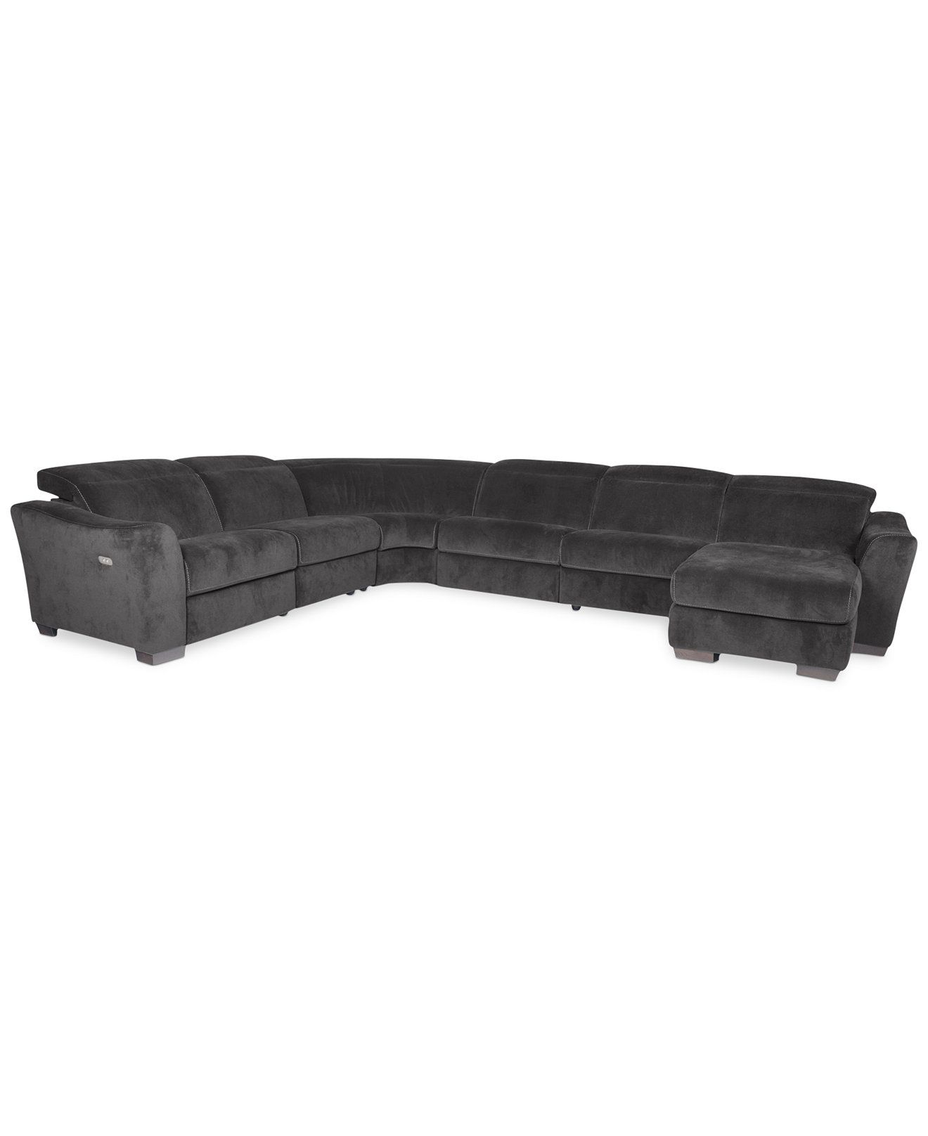 Alessandro Fabric 6 Piece Chaise Sectional Sofa with 2 Power