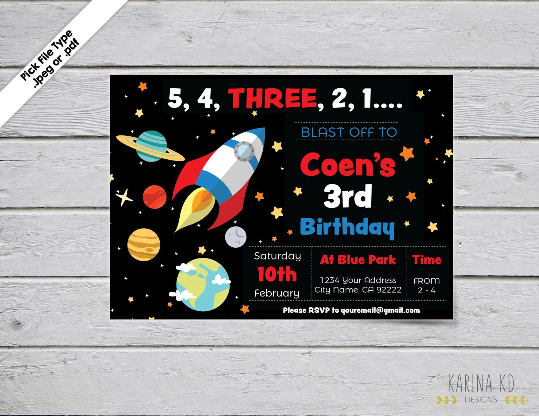 Rocket Ship/Space Ship 5x7 Invitation by KarinakdDesigns on Etsy