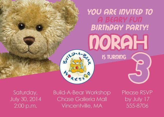 printable build a bear birthday party invitation custom