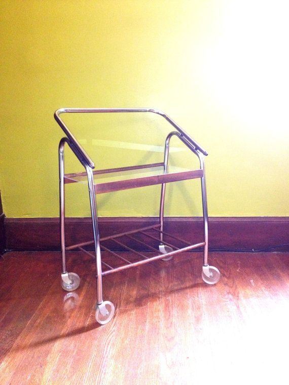 56 vintage rolling cart book shelf tv stand craft supply storage small chrome and wood with