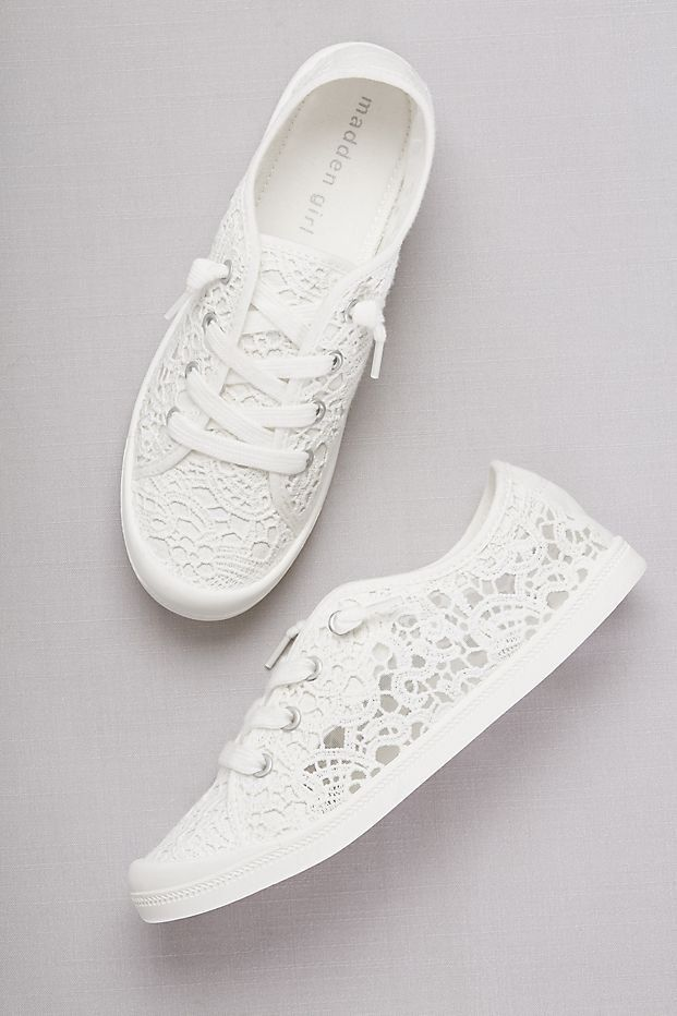 Crochet Lace Sneakers | Casual wedding shoes from David's Bridal 2