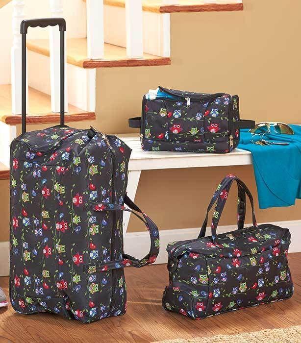3 pc Luggage Set Owl Print Rolling Duffel Tote & Toiletry Bag ...