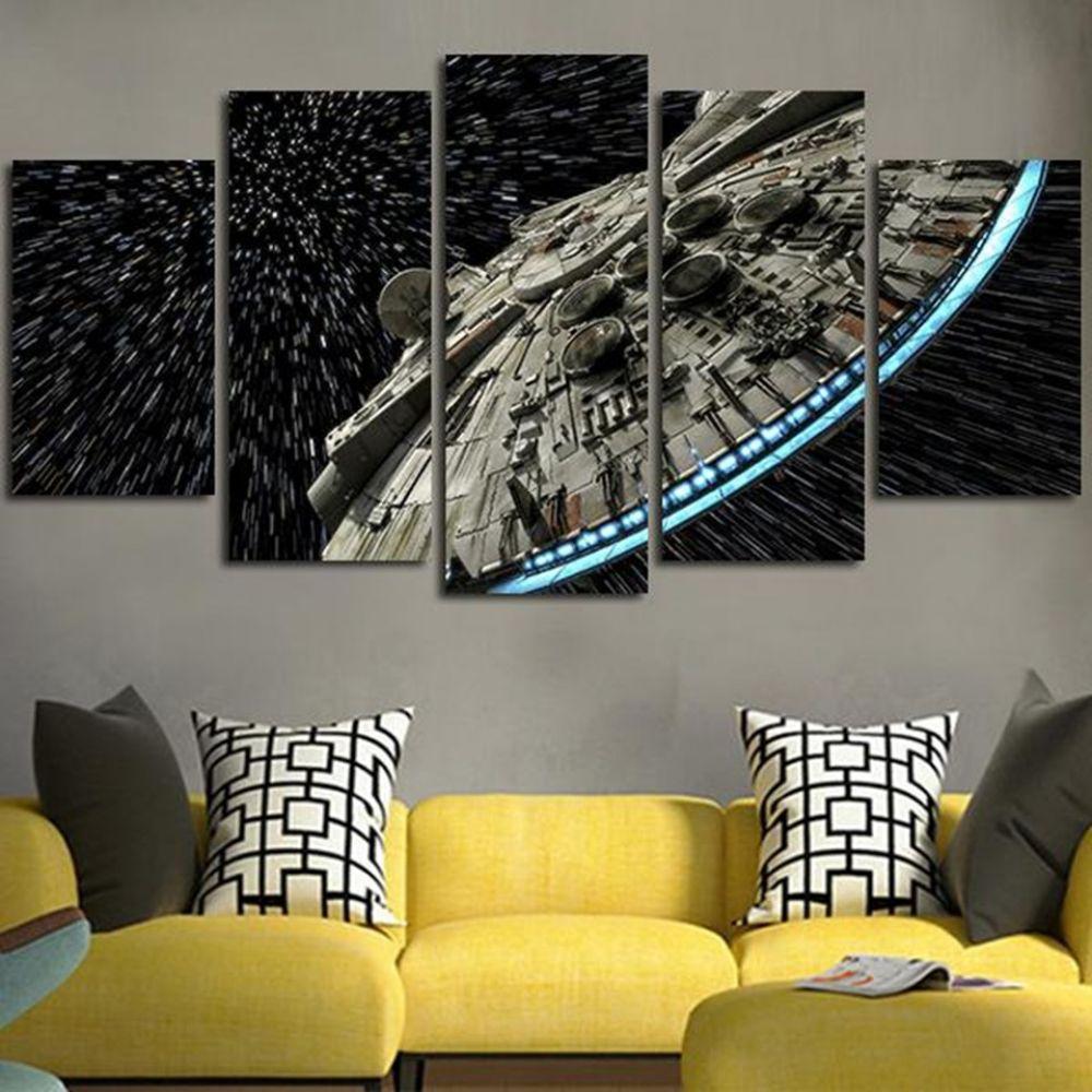 Five Panel Millenium Falcon Wall Art Price 11 99 Free Shipping Art Star Wars Wall Art Canvas Art Wall Decor Star Wars Canvas Painting