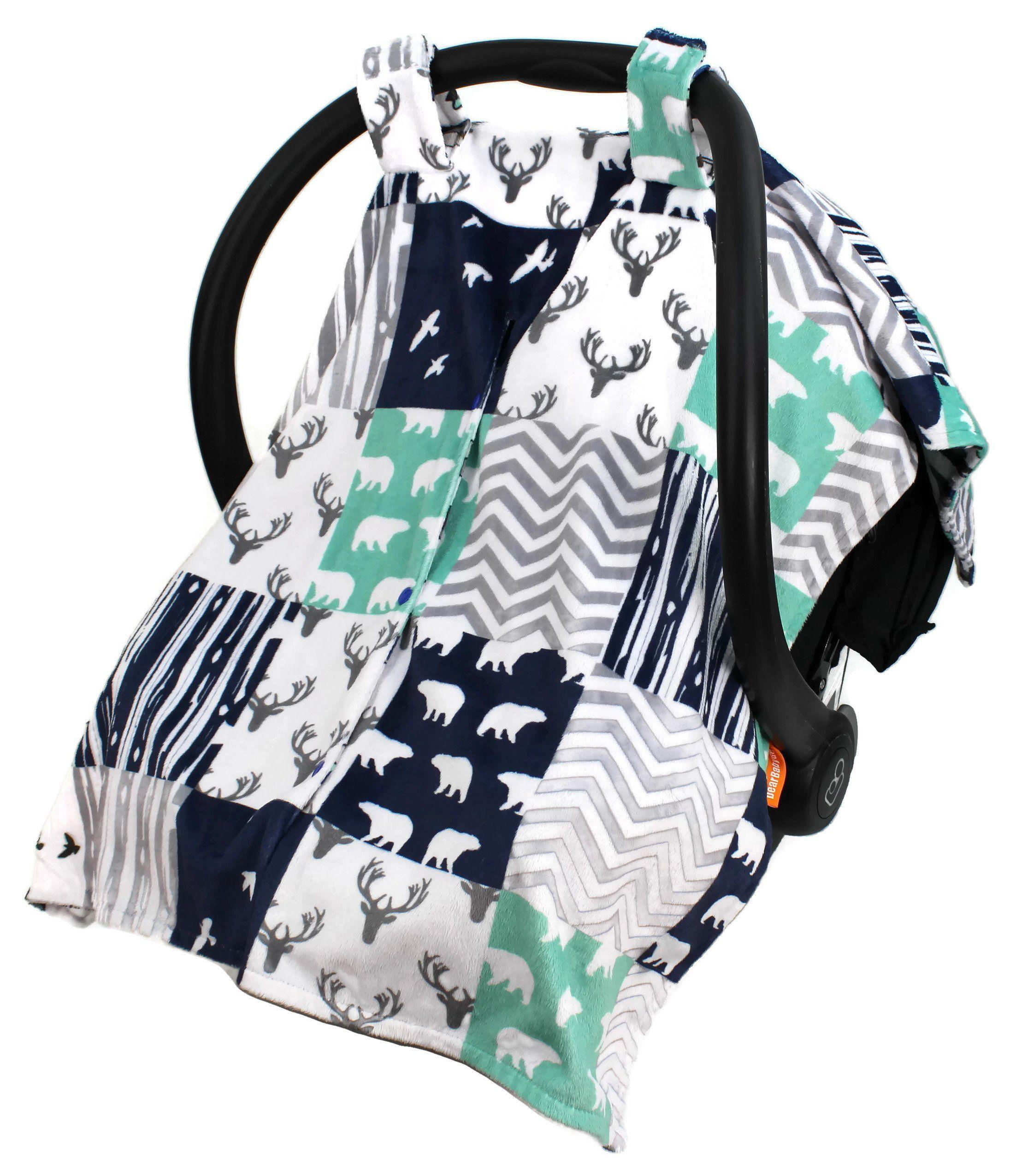 Dear Baby Gear Deluxe Reversible Car Seat Canopy Woodland Bear Quilt Feathers Navy Mint Custom Minky Print
