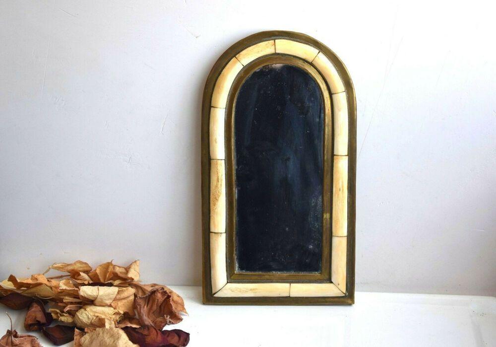 Vintage Brass Horn Mirror Romantic, Vintage Brass Mirror Wall Hanging