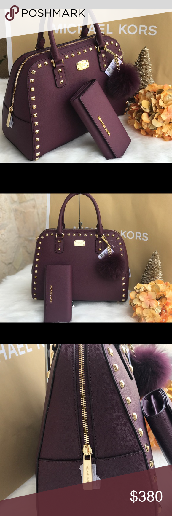 3d6da214fb85 🌷MICHAEL KORS Plum Saffiano Sandrine Satchel Set MICHAEL KORS Authentic  Plum Large Studded Sandrine Tote and Wallet Set 🌷 Pom is not included but  ...