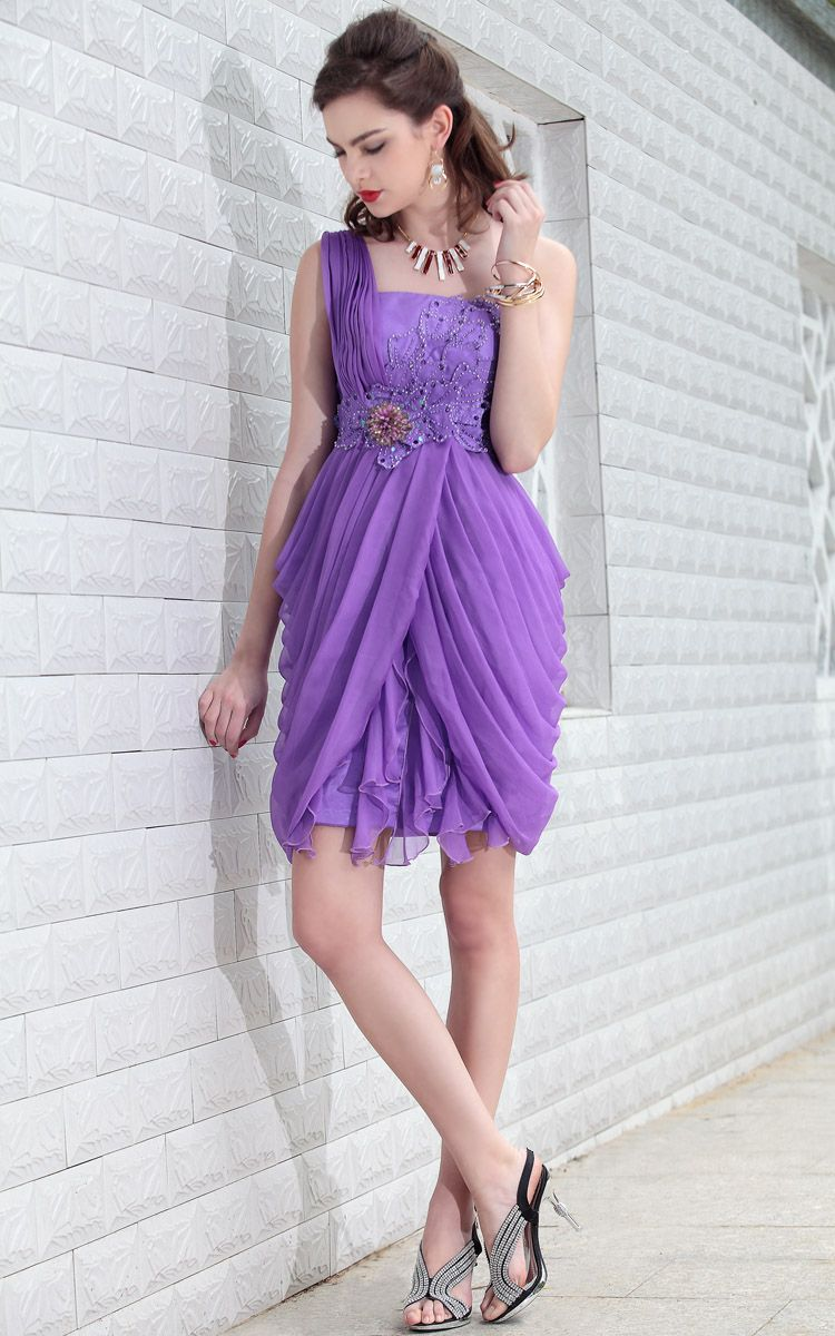 one-shoulder Short A-line Purple bridesmaid dresses UK - £136.00 ...