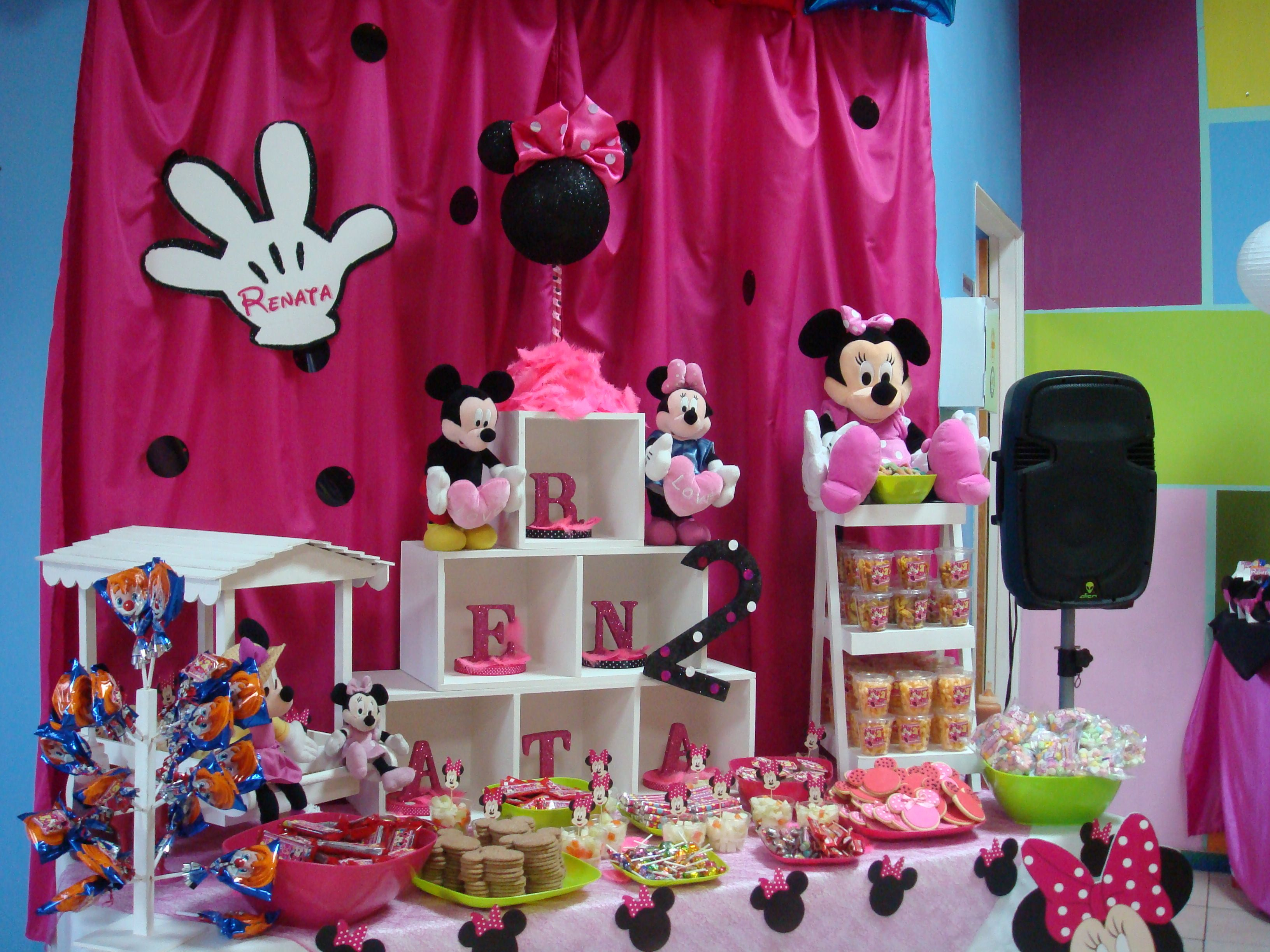Minnie mouse mesa de cumplea os buffet candy treats for Mesa de cumpleanos de mickey