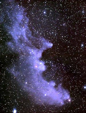 IC 2118 (also known as Witch Head Nebula due to its shape), is an extremely faint reflection nebula believed to be an ancient supernova remnant or gas cloud illuminated by nearby supergiant star Rigel in Orion.