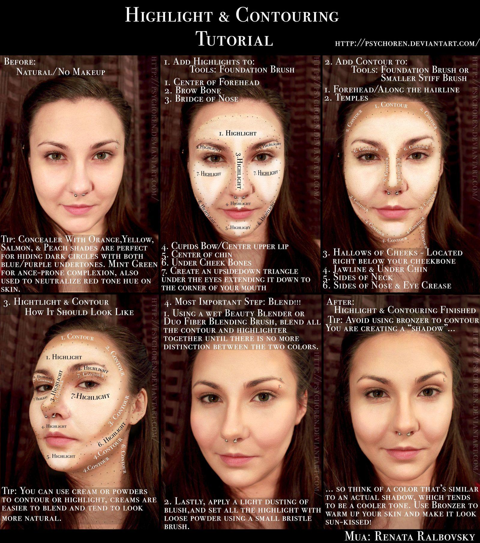 Highlight and contouring tutorial by psychoren makeup beauty highlight and contouring tutorial by psychoren baditri Gallery