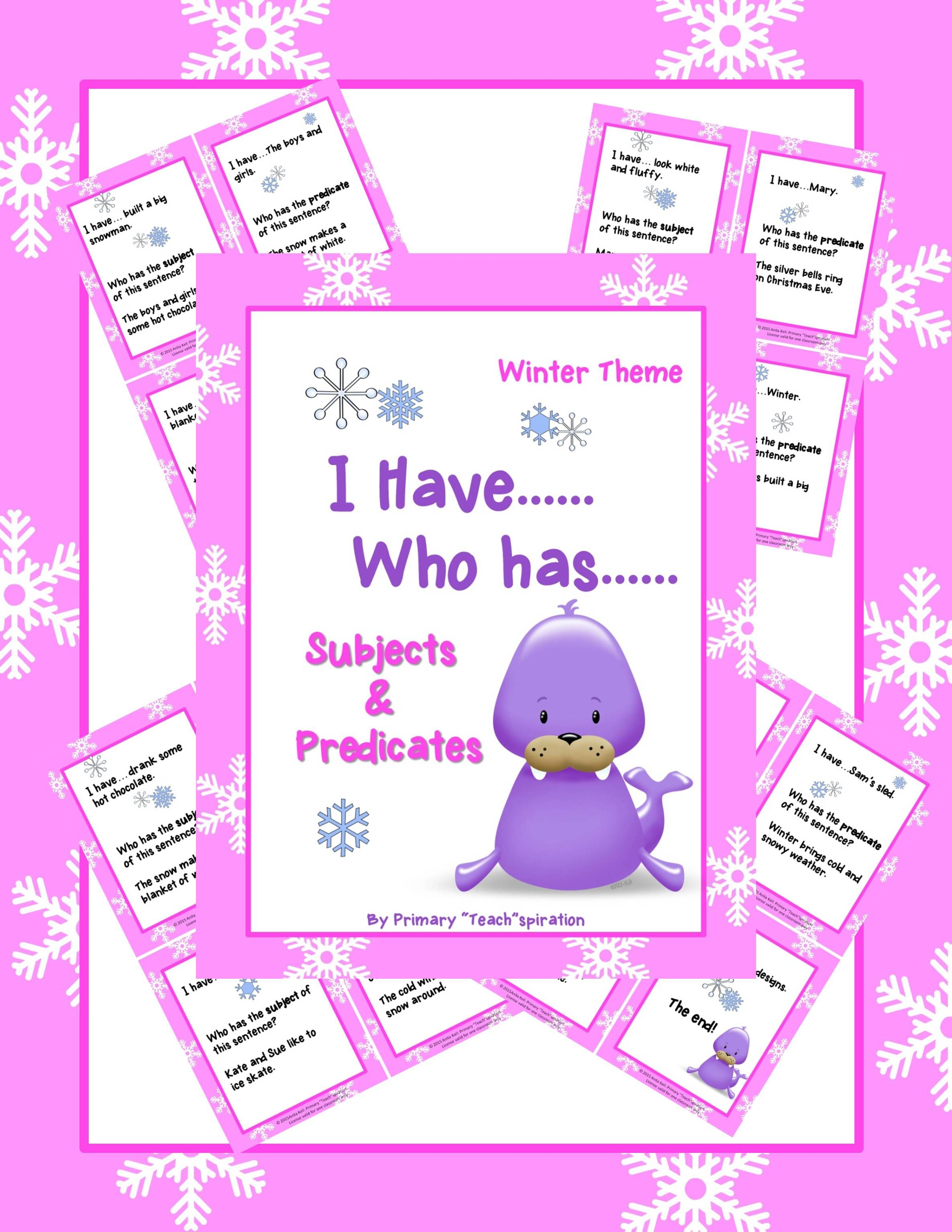 Subjects And Predicates I Have Who Has Winter Theme