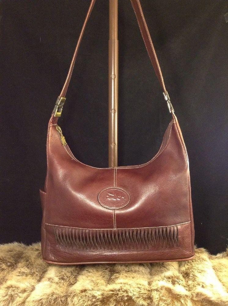 6c2790d9cc5d Vintage American Angel Burgundy Brown Colombian Leather Shoulder Handbag