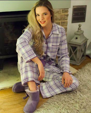 Violet Woven Long Sleeve Brushed Check Pyjamas