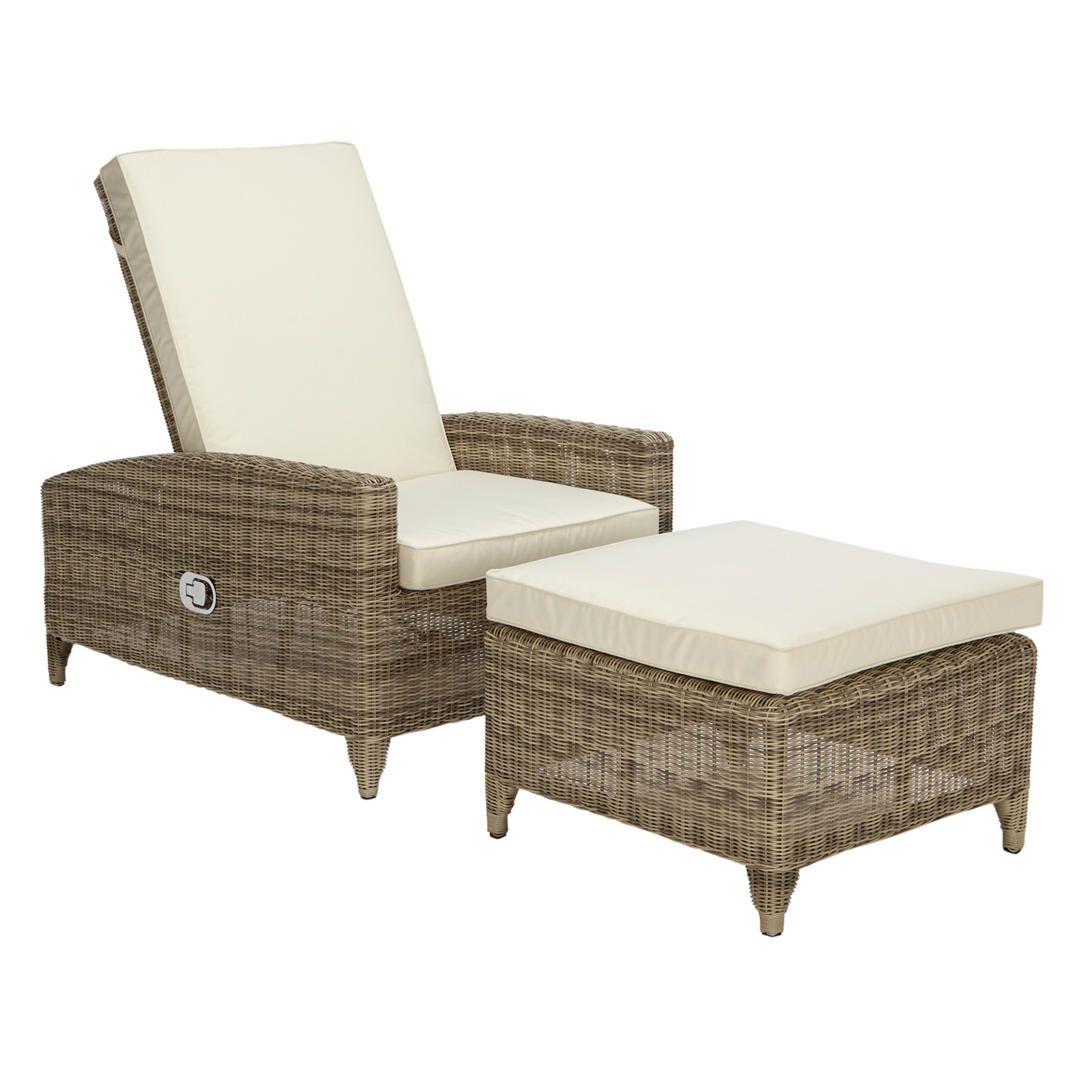 John Lewis Partners Dante Luxe Garden Sun Lounger With Foot Stool Natural Sun Lounger Footstool Woven Outdoor Furniture