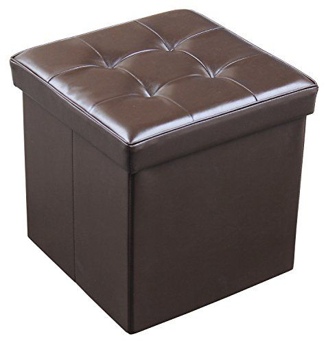 Jaf Home Bedroom Faux Leather Foldable Storage Ottoman Seat Cube Brown Color 15x15x15 Inch Click Image For More Storage Cube Ottoman Storage Ottoman Ottoman