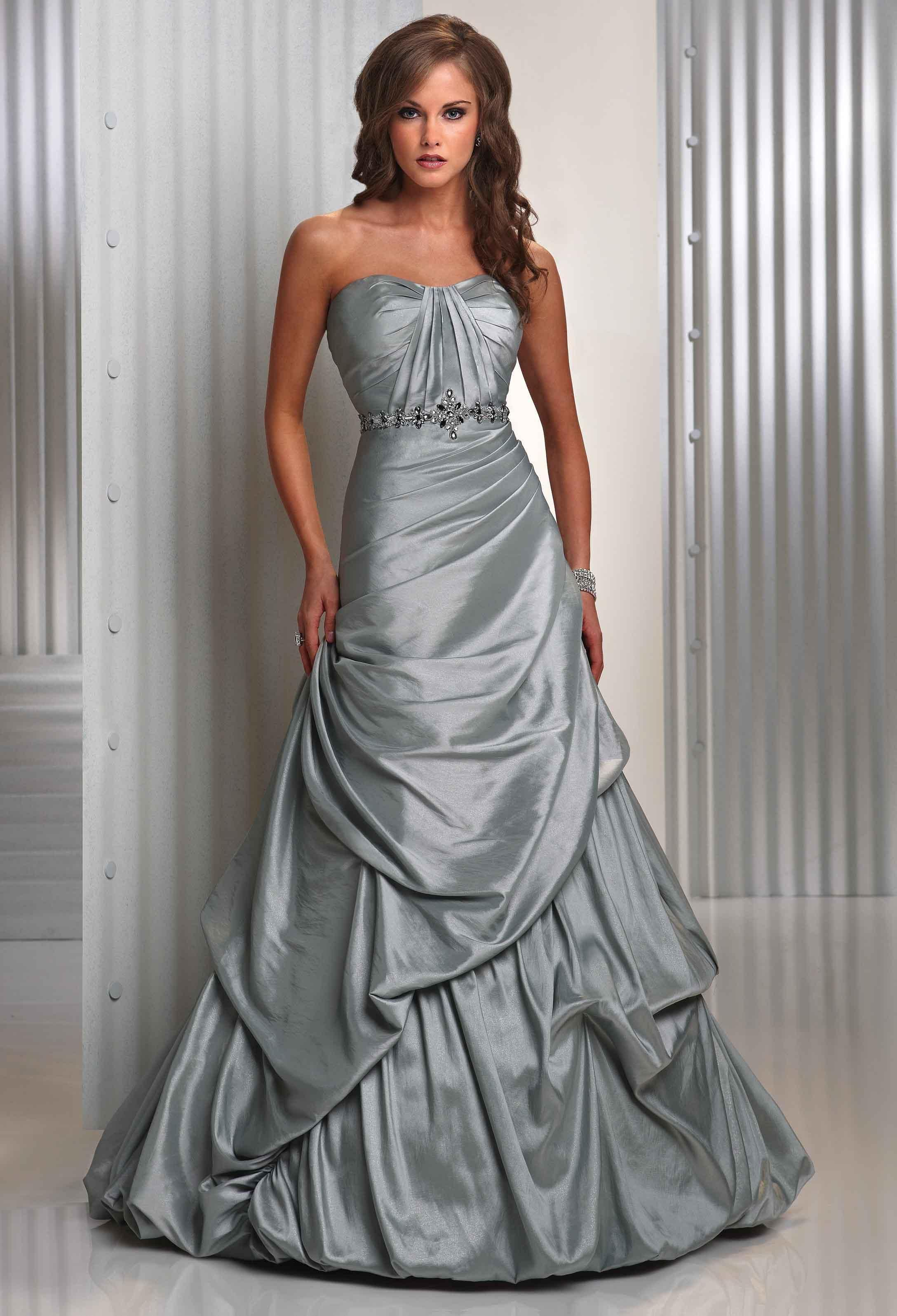 Evening dresses silver shimmer taffeta strapless for Silver wedding dresses 25th anniversary