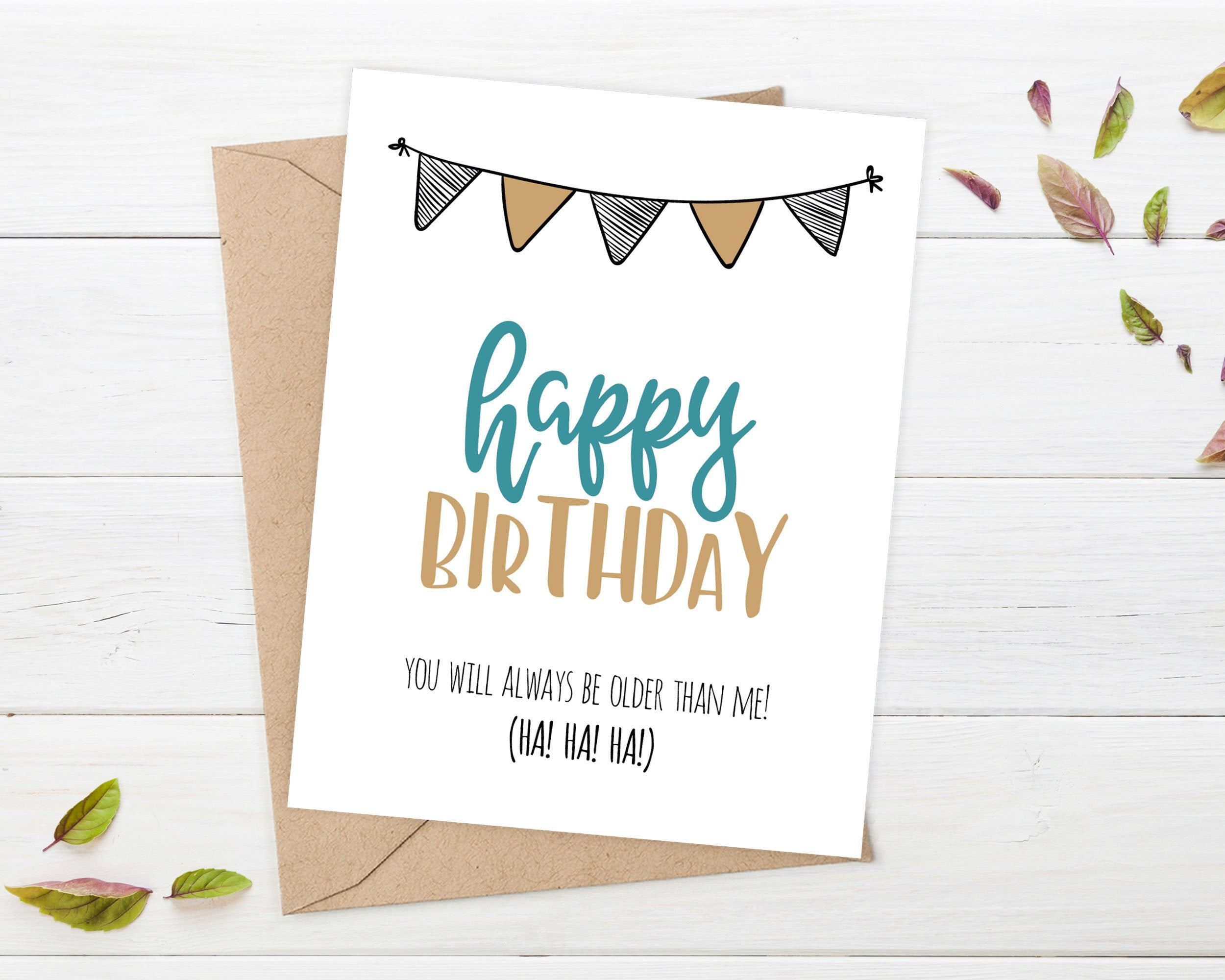 Birthday card funny older birthday card older sister