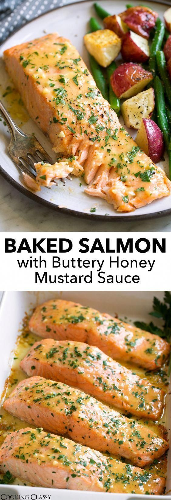 Salmon with Buttery Honey Mustard Sauce - This is the easiest Baked Salmon with a sweet and tangy Buttery Honey Mustard Sauce! This recipe requires minimal effort, ONLY 5 basic ingredients, and the flavor is perfectly delicious. via @cookingclassy