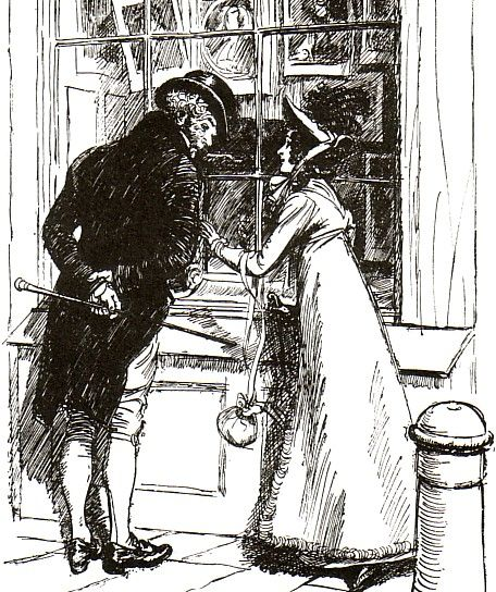 Jane Austen's 'Persuasion' - Admiral Croft and Anne Elliot - '... she not only might have passed him unseen, but was obliged to touch as well as address him before she could catch his notice... '