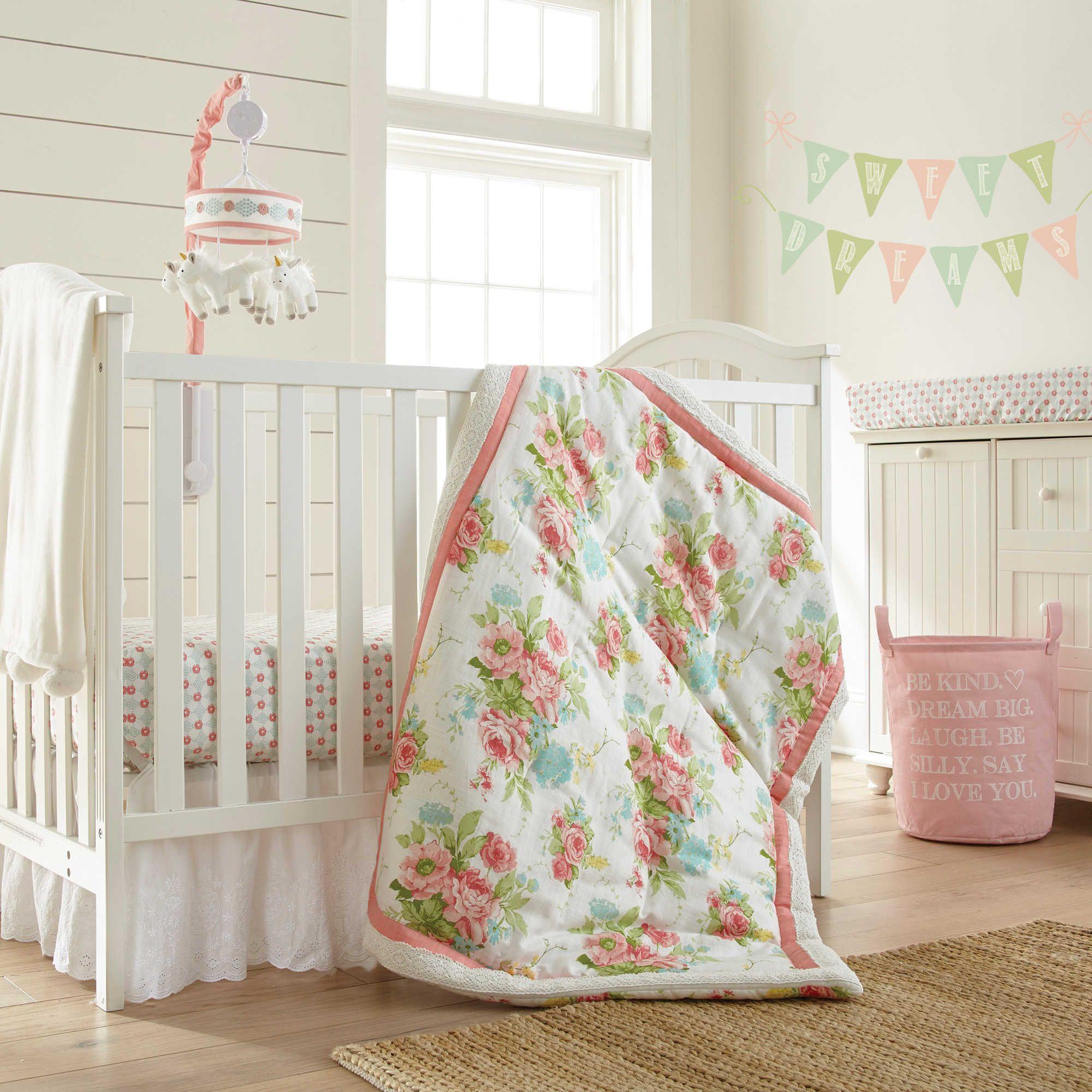levtex baby emma 5piece crib bedding set in pink