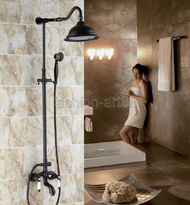 Robinet De Baignoire Bath Faucet Modern Black Shower Faucet with 3 Settings Hand Shower Tub and Shower Faucet Wall Mount Brass Single Handle Tub Bathtub Faucet