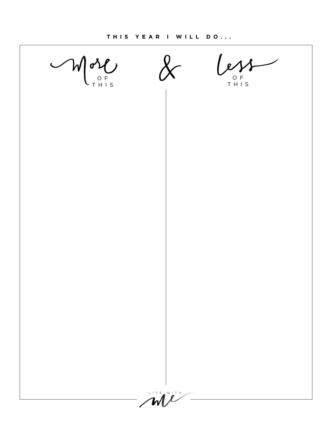 New Years Resolutions Printable Worksheets