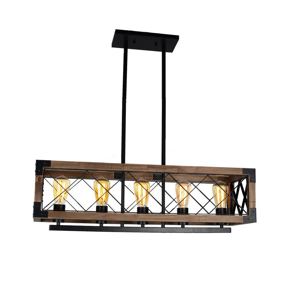 Baiwaiz Wood Chandelier Rectangular Chandelier Farmhouse Lighting 5 Light Edison E26 Max 300w Bw1 Wood Chandelier Rustic Wood Chandelier Rectangular Chandelier
