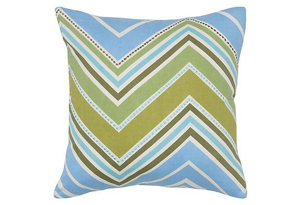 Molly 18x18 Cotton Pillow, Green/Blue on OneKingsLane.com