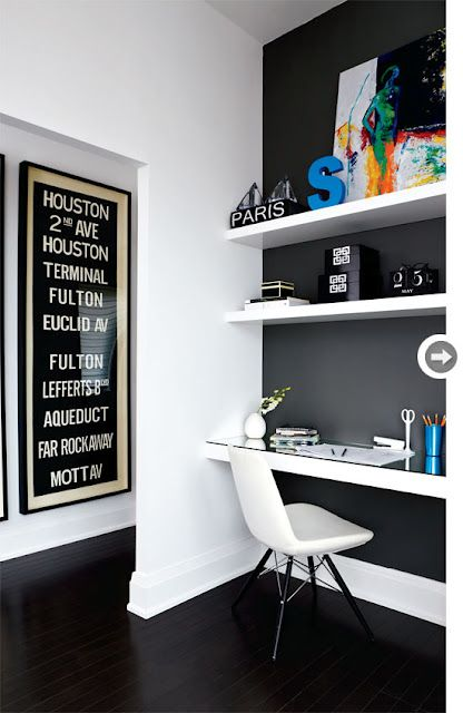 Love The Black Lacquered Floors W White Walls And Bold Color Accents Interior Home Office Design Home Decor