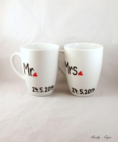 Hochzeitsgeschenk Tassen Set Wunschdatum Mr Mrs Von Lovely Cups Auf