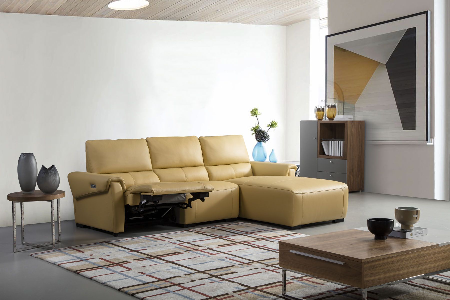 Beverly Hills Bh275 Rf Electric Recliner Mustard Leather Sectional