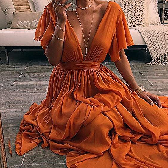 Charming Prom Dress,Chiffon Evening Dresses,V-Neck Prom Dresses,A-Line Prom Gown