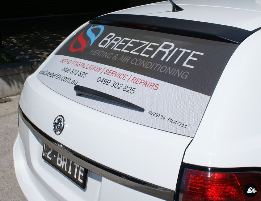 Breezerite Rear Window Advertising R E A R W I N D O W T