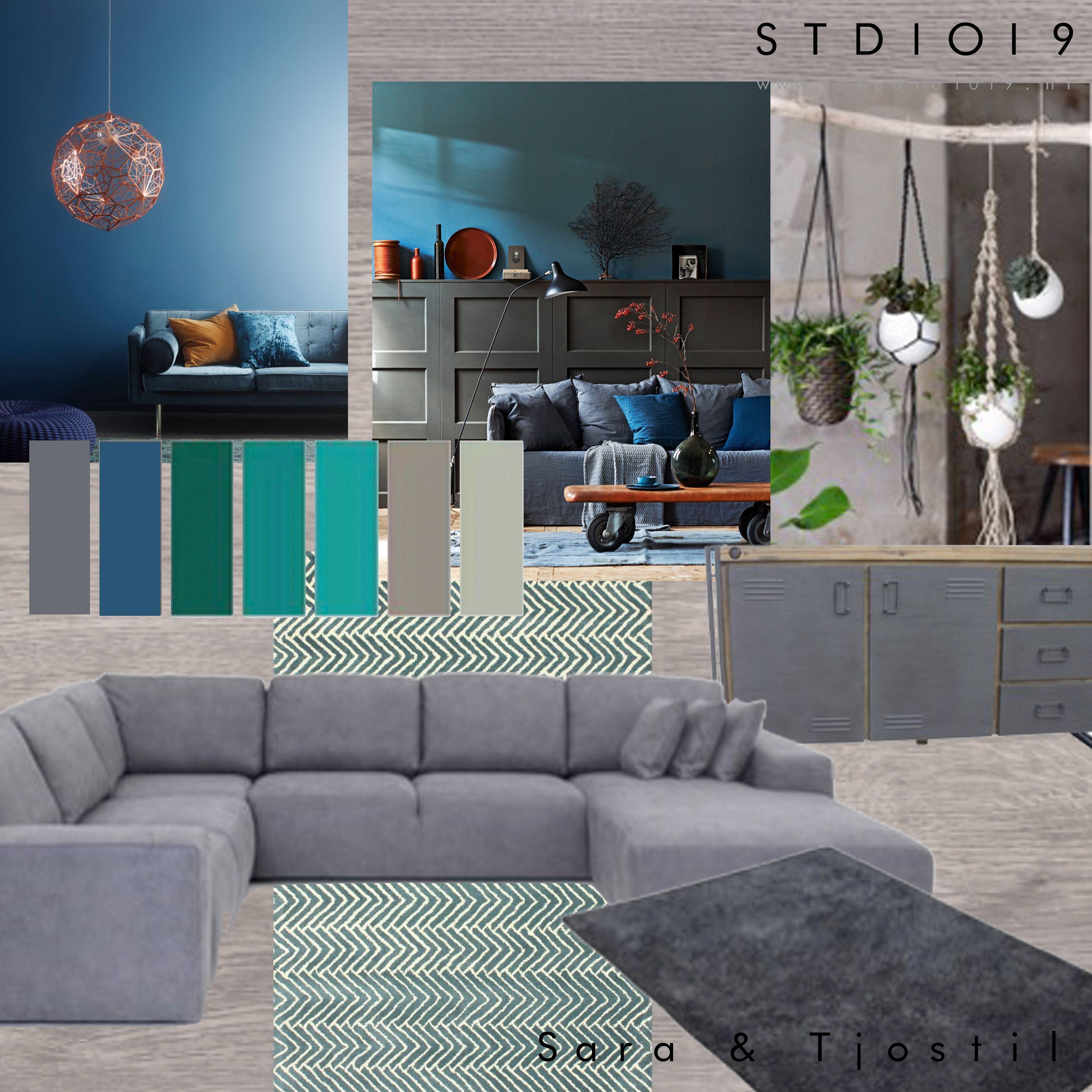 Moodboard van een kleurrijke woonkamer #teal #blauw # groen door ...