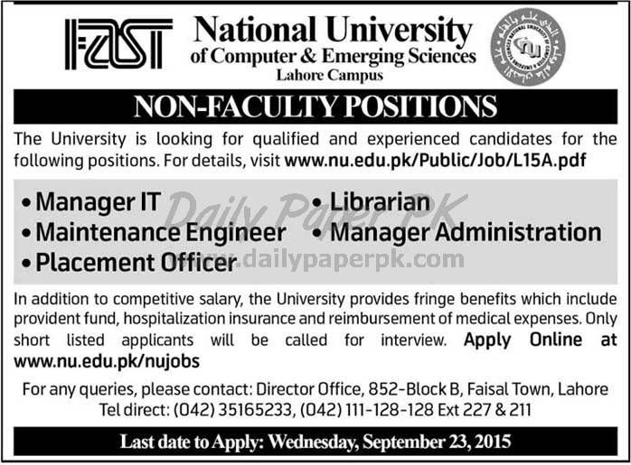 Non Faculty Positions In National University Of Computer And