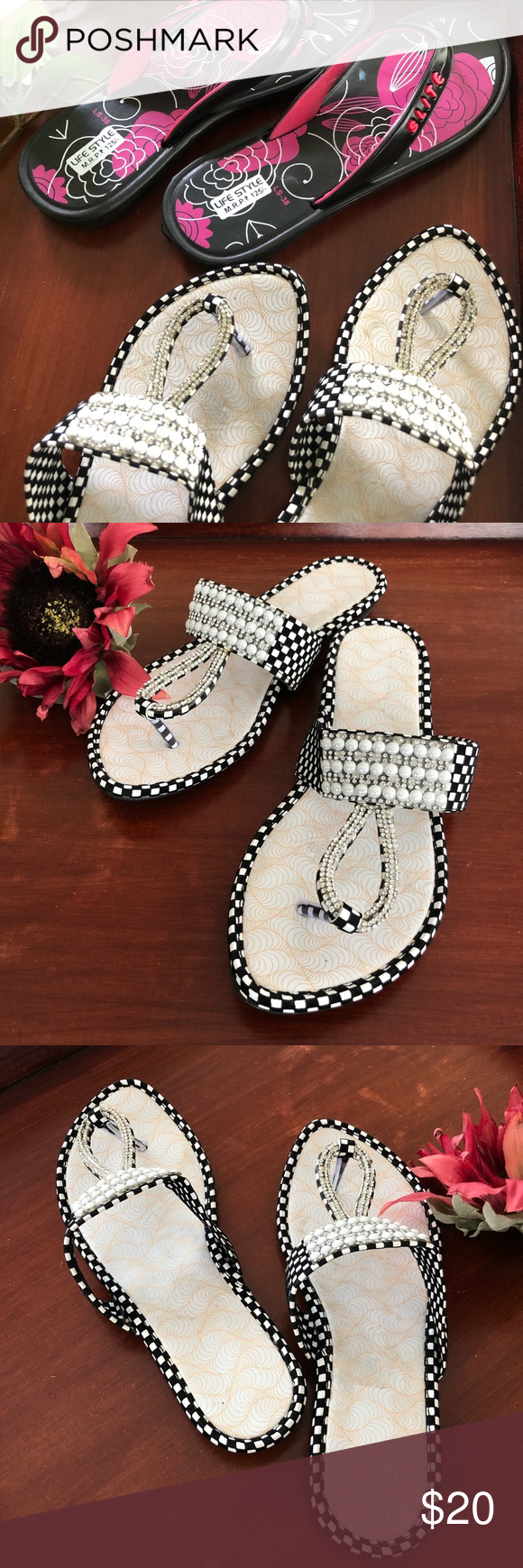 cc9263d5d3f A set of flip flops Asian flip flops with Asian sizes on the bottom!!!! One  is sliver and black 2nd one is pink and black Women s USA size about 6 to 6  1 2 ...