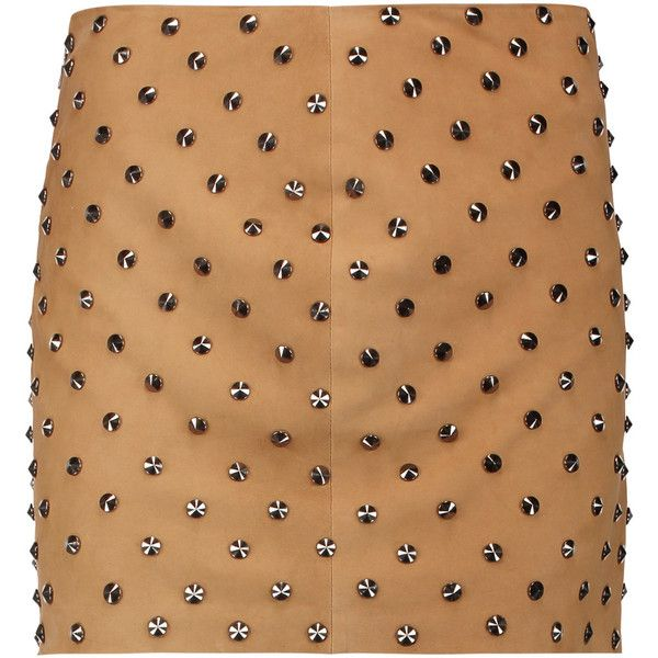 Alice + Olivia Elana studded suede mini skirt (100.320 HUF) ❤ liked on Polyvore featuring skirts, mini skirts, tan, stretchy mini skirts, suede skirt, studded skirts, tan mini skirt and stretch skirts