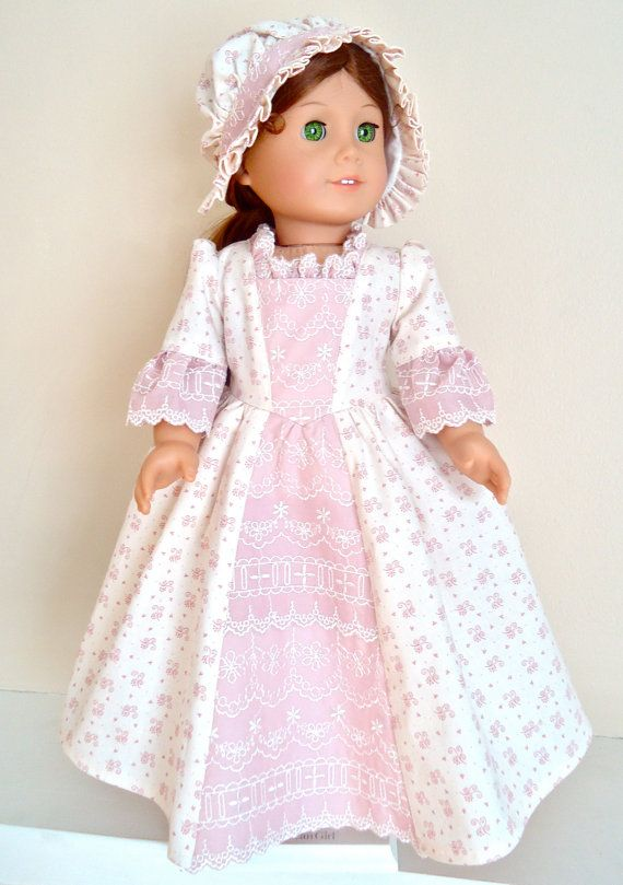 Felicitys Lovely in Lace Dusty Pink Colonial Lace Gown and Round-Eared Cap by BackInTimeCreations, $38.00