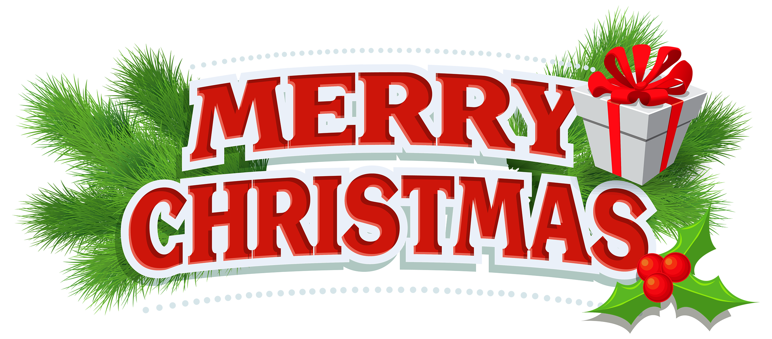 Merry Christmas Decor with Gift PNG Clipart (Dengan gambar)