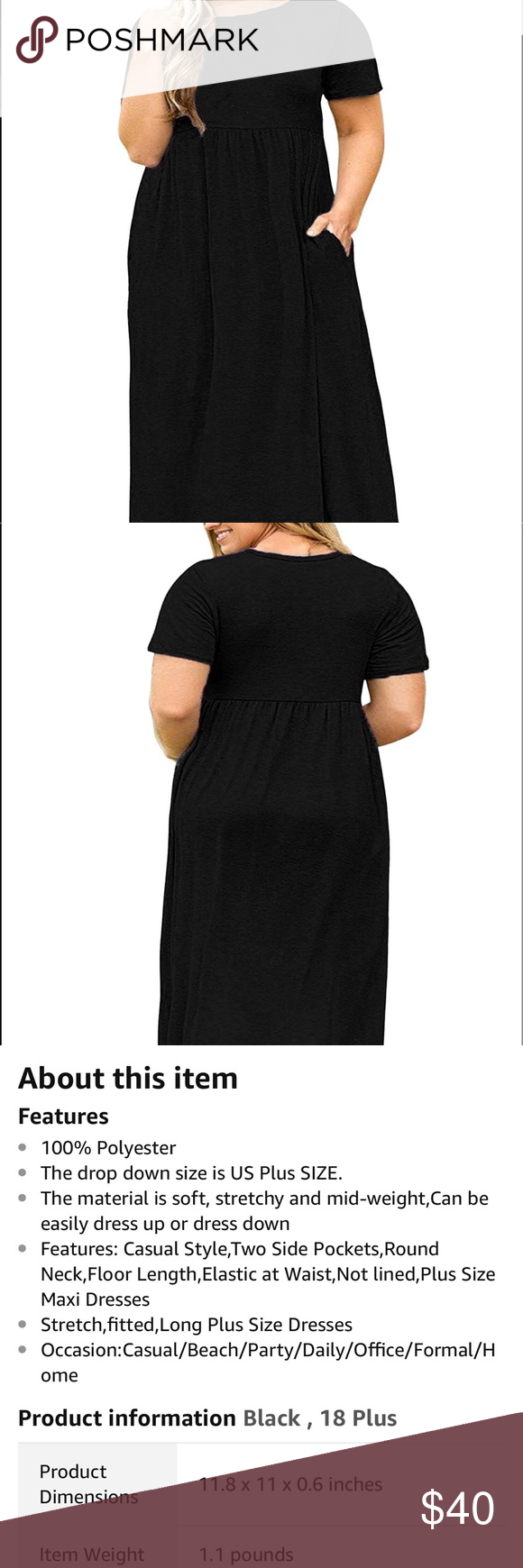 Long short sleeve black maxi dress nwt black maxi maxi dresses