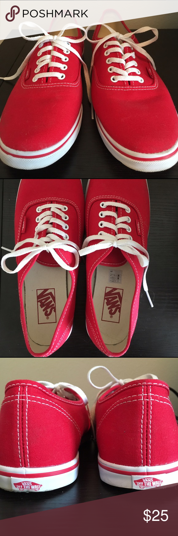Red vans sneakers sz10 Brand new, never worn, red vans lace up. These were given to me as a gift and I'm just not a sneaker person. Looking to get rid of them quickly! Vans Shoes Sneakers