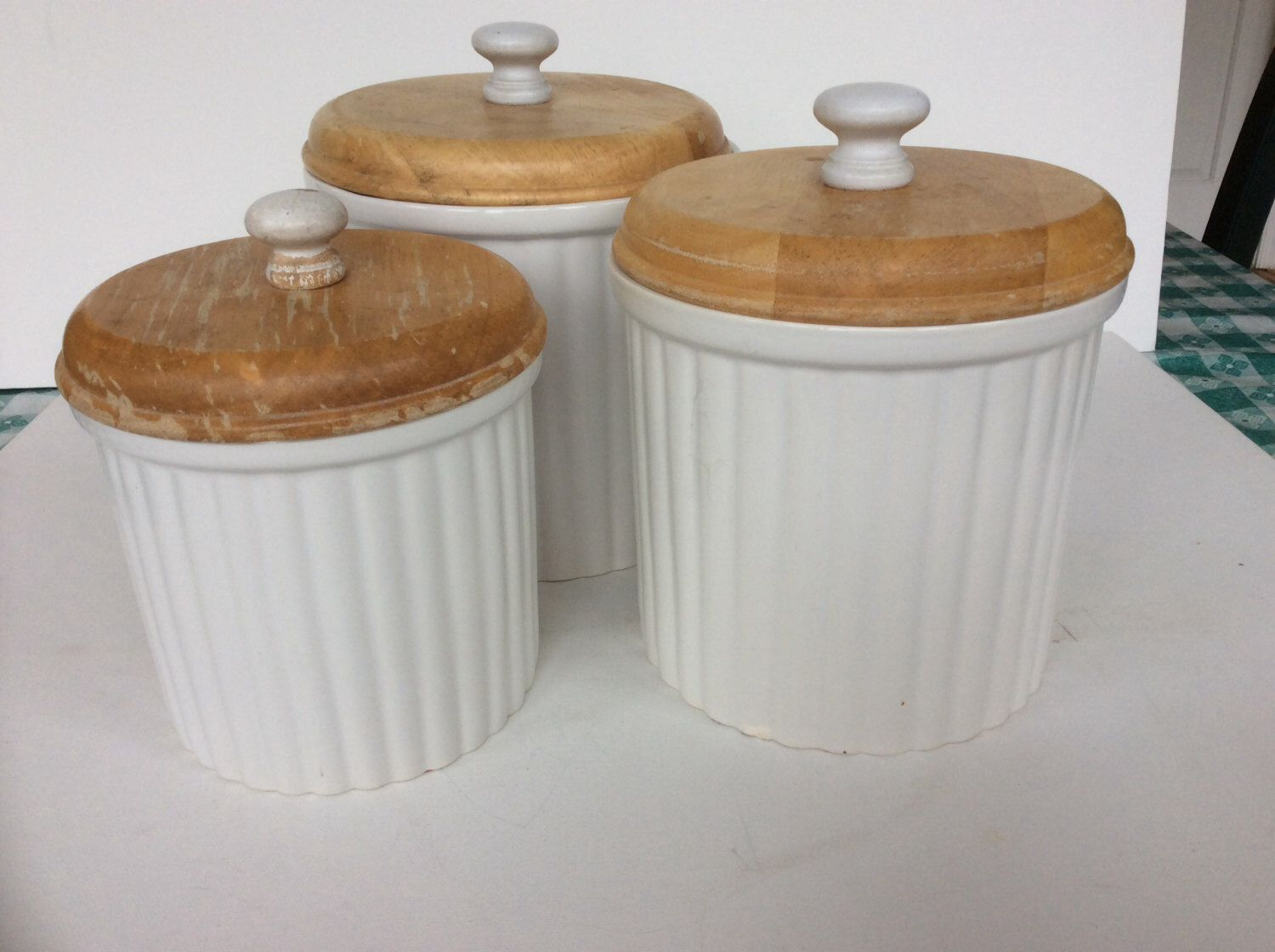 Download Wallpaper White Kitchen Canisters With Wood Lids