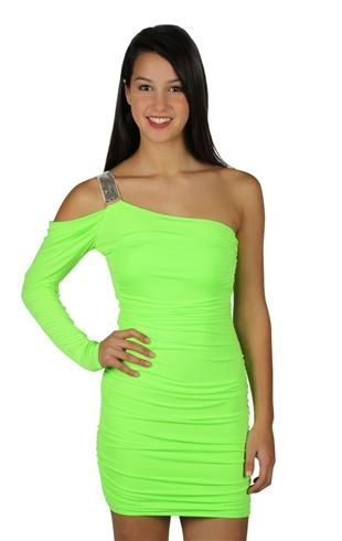 Totally A possibility for me to get this one  one shoulder metal accent club dress