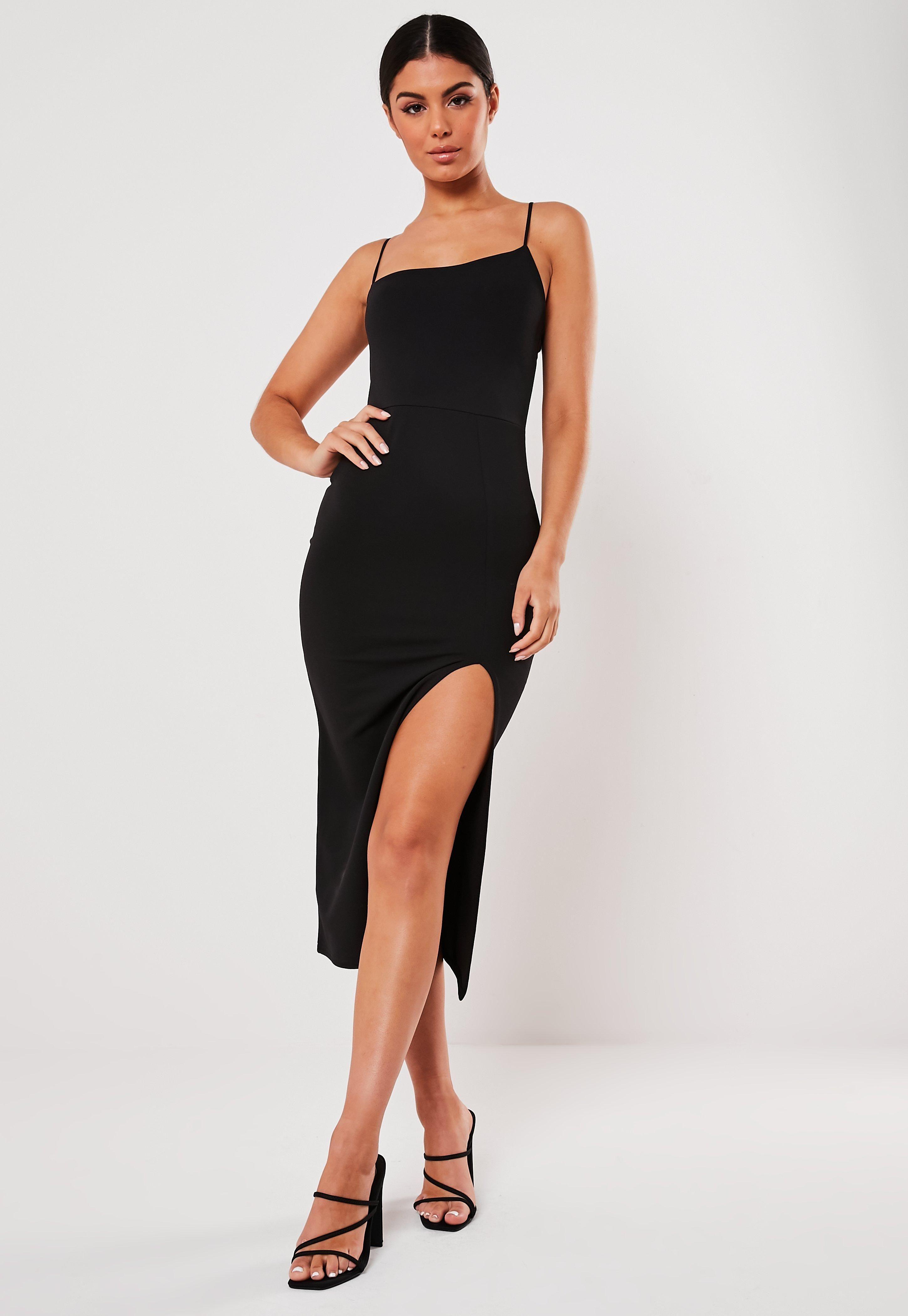 Black Strappy Asymmetric Split Hem Midi Dress Sponsored Asymmetric Ad Strappy Black Trending Dresses Dresses Womens Dresses [ 4200 x 2900 Pixel ]