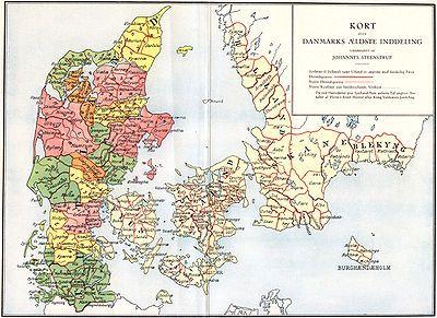 Herreder I Danmark I Middelalderen Gamle Kort Danmark Kort