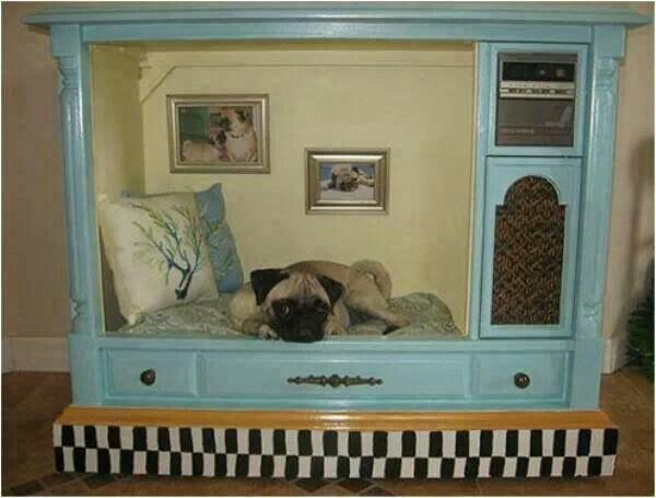 Indoor Dog House Made Of An Old Floor Model Tv Upcycled Pet Bed