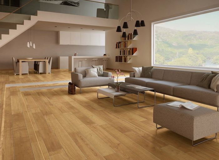 ein Haus mit Panorama ein Bücherregal Wohnzimmer Möbel in beiger - laminat wohnzimmer modern